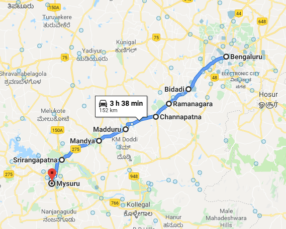 Bangalore to Mysore itinerary