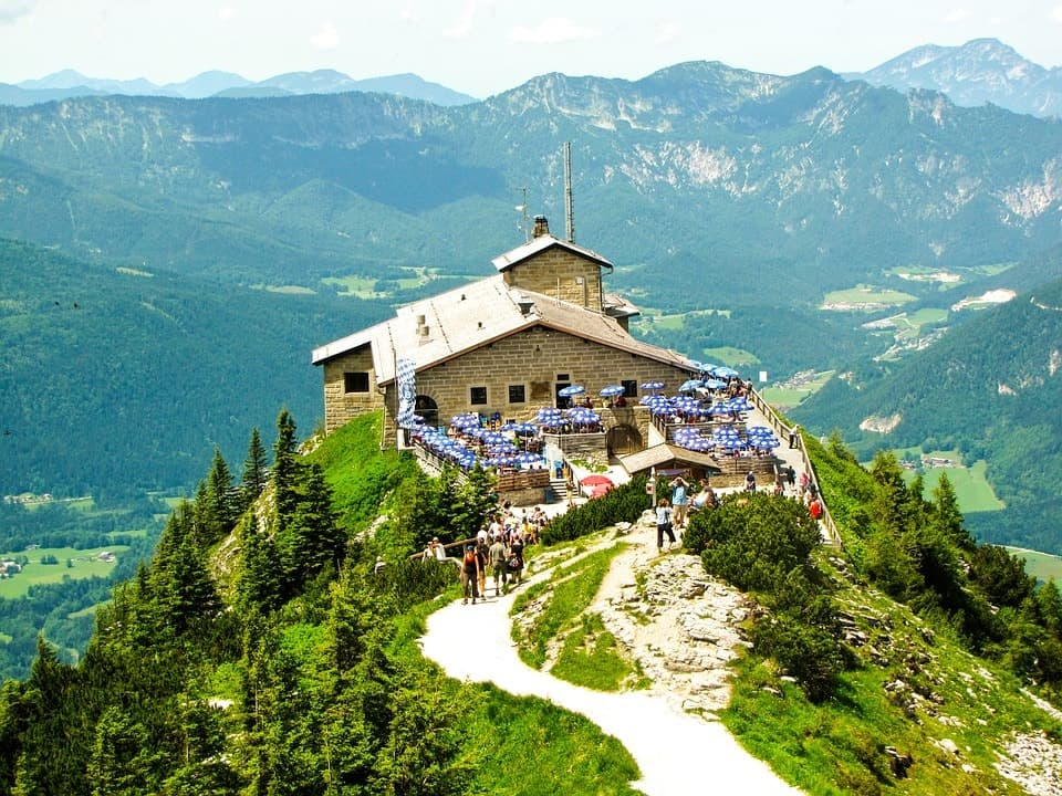 The Kehlsteinhaus is a Third Reich-era building erected atop the summit of the Kehlstein, a rocky outcrop that rises above the Obersalzberg near the town of Berchtesgaden