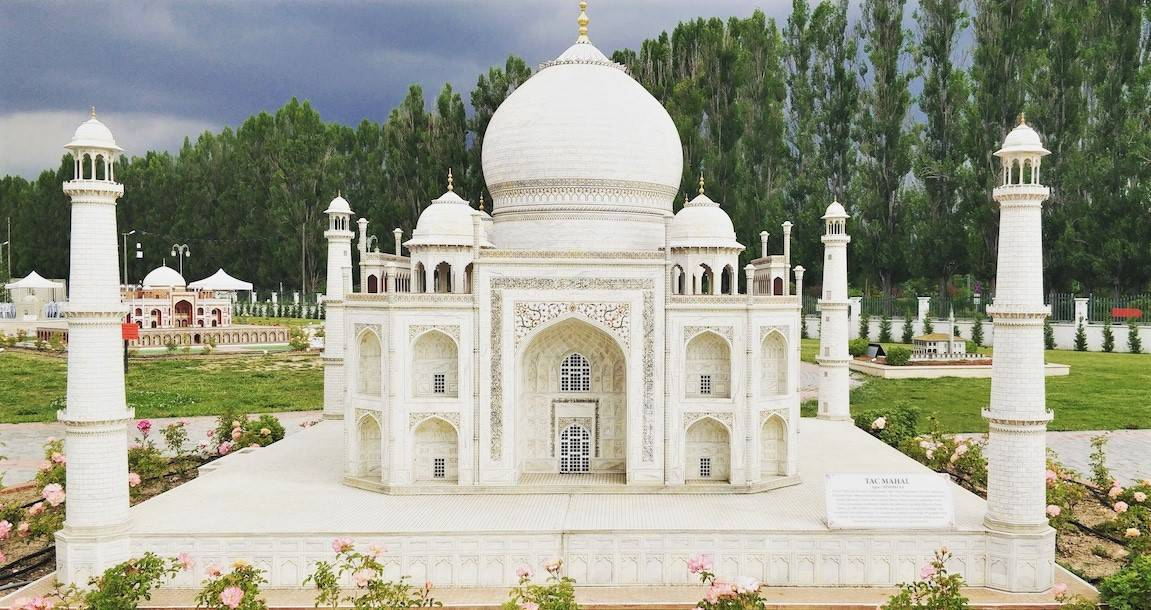 A miniature of the Taj Mahal of India at Eskisehir miniature park _