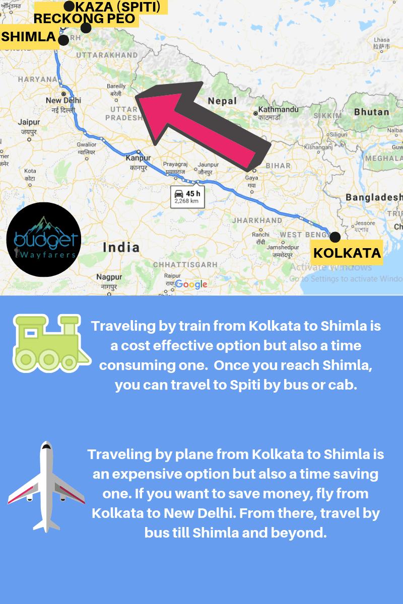 How to travel to Spiti from Kolkata via Shimla