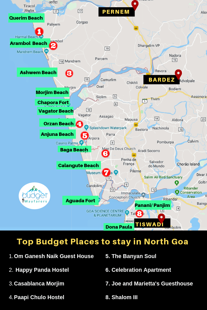 best places to stay in north Goa