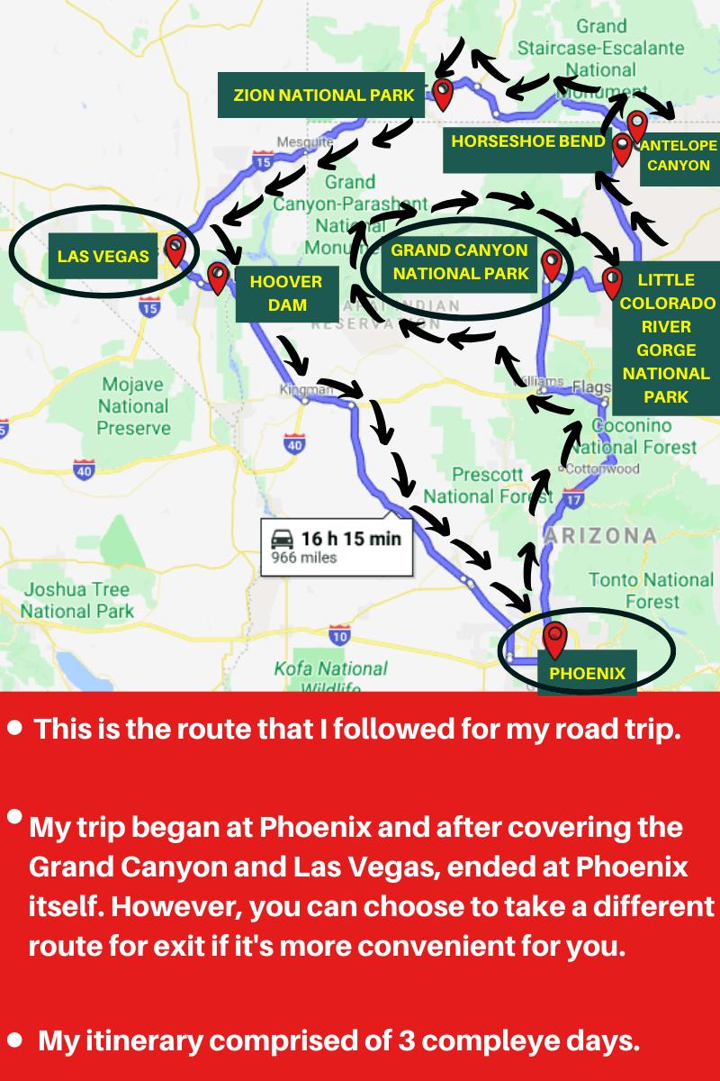Phoenix to Grand Canyon to Las Vegas itinerary