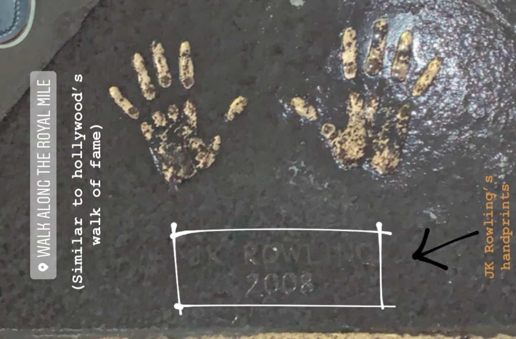 Handprints of J.K. Rowling at Royal Mile